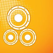 Musical instrument speakers on stylish orange background.