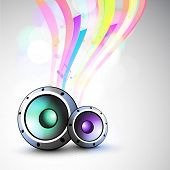 Speakers with colorful waves on stylish grey background.