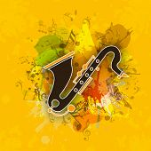 Saxophone with abstract swirl and musical notes on yellow grungy background.