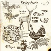 Collection Of Engraved Hand Drawn Elements Hunting Season Design