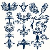 Collection Of Vector Hand Drawn Fleul De Lis And Swirls In Vintage Style