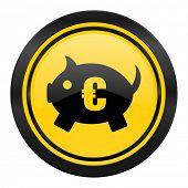 piggy bank icon, yellow logo,
