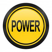 power icon, yellow logo,