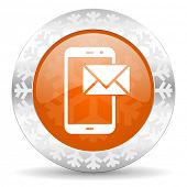 mail orange icon, christmas button, post sign