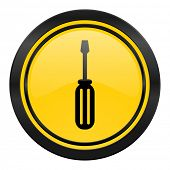 tools icon, yellow logo, service sign