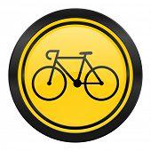 bicycle icon, yellow logo, bike sign
