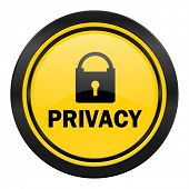 privacy icon, yellow logo,