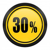 30 percent icon, yellow logo, sale sign