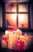 Christmas Gifts Rustic Table Window Outside Window Already Getting Dark