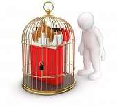 Gold Cage with Cigarette Pack and Man (clipping path included)