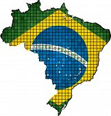 Brazil map with flag inside