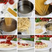 Cooking Spaghetti Noodles Pasta With Tomato Sauce And Basil Step By Step Instruction