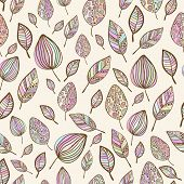 Seamless  hand drawn pastel colorful leaf pattern with ornament.Texture with leaves in pastel backdr