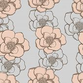 Hand drawing graphic flowers seamless pattern with pastel color