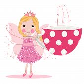 Cute fairy with coffee cup vector