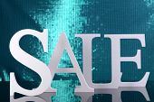 Sale on blue background