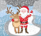 Santa Claus with reindeer (Christmas card)