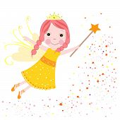 Cute fairytale yellow stars shining vector