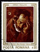 Postage Stamp Romania 1990 Old Nicholas, The Zither Player
