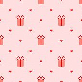 Pink Seamless Pattern With Gifts And Hearts