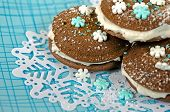Chocolate whoopie pies on snowflake