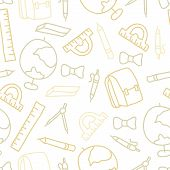 Doodle Seamless Pattern With School Object
