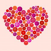 vector heart made of colorful buttons