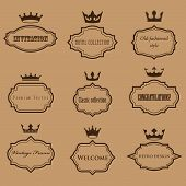 vector collection of retro frames with crowns