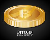 stock photo of bitcoin  - Bitcoin design over black background - JPG