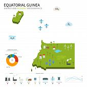 stock photo of guinea  - Energy industry and ecology of Equatorial Guinea vector map with power stations infographic - JPG