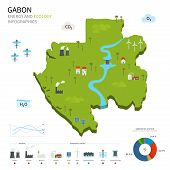 stock photo of hydroelectric power  - Energy industry and ecology of Gabon vector map with power stations infographic - JPG