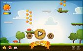 picture of status  - Illustration of a funny graphic platform game user interface design in cartoon style with basic buttons icons status bar seamless grass and spring landscape for tablet pc - JPG