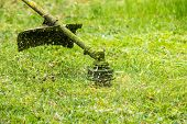 foto of grass-cutter  - close up shot of gasoline trimmer head with nylon line cutting fresh green grass to small pieces - JPG