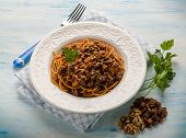 foto of hungarian  - spaghetti with tomato nuts and dried grape - JPG