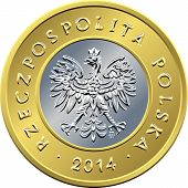 pic of zloty  - vector obverse Polish Money two zloty coin with eagle in a golden crown - JPG