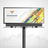 Billboard mock up for logo presentation and abstract logotype identity with urban horizon vector bac poster