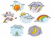 stock photo of cold-weather  - Cartoon wSet of cartoon weather illustrations hand drawn colorful no gradientseather set - JPG