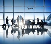 foto of cabin crew  - Business People Walking Airport Business Trip Travel Destination - JPG