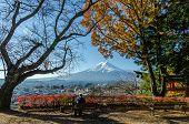 foto of mount fuji  - Mount Fuji with blue sky from Lake Kawaguchi Japan - JPG