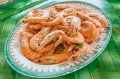 foto of thai food  - Stream prawn seafood  - JPG