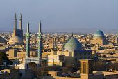picture of zoroastrianism  - View from the top on the centre of old Yazd. Jame Mosque in the left with highest minarets in country.