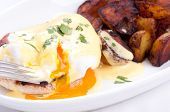 picture of benediction  - eggs benedict with farm fresh eggs and ham and fried potatoes - JPG
