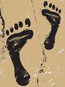 pic of footprints sand  - Black grunge footprint silhouette design on sand - JPG