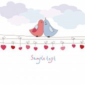 Romantic card with birds. Vector illustration