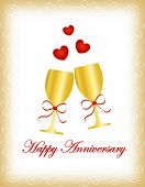 pic of glass heart  - Happy anniversary greeting card with two golden wine glass with red ribbonand red hearts - JPG