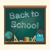 foto of bagpack  - Back to school blackboard vector illustration  - JPG