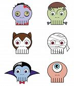 stock photo of monsters  - Monster skulls presenting vary characters such as  vampire - JPG