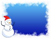 picture of snow border  - A border illustration featuring a smiling snowman with snow on clean blue background - JPG
