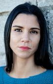 foto of piercings  - Portrait of brunette cool girl with a piercing in her nose - JPG