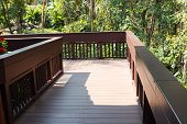 picture of bannister  - wooden walkway on the terrace beside the garden - JPG